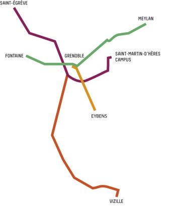 Plan de la voie cyclable chronovelo à Grenoble